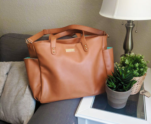 brown vegan leather Aquila tote bag White Elm