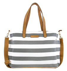 white elm aquila gray stripe canvas tote bag diaper bag valentines day gift guide 2018