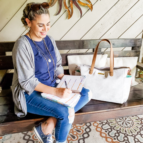 white elm aquila tote work bag for moms five essentials for the working mom