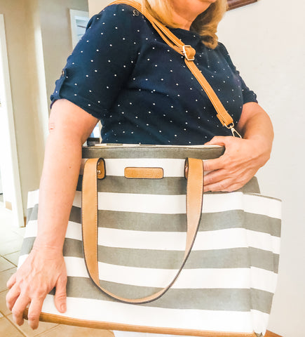 white elm gray striped aquila tote teacher bag