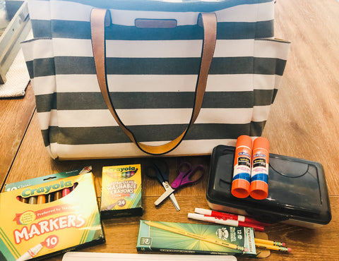 white elm gray stripe aquila tote bag teacher review with school supplies