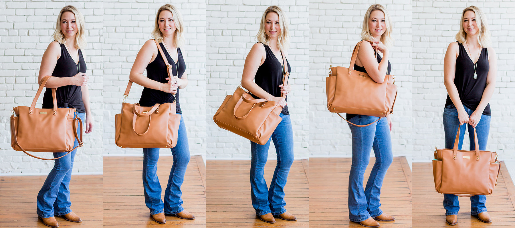white elm brown vegan leather tote bag five ways to wear versatile