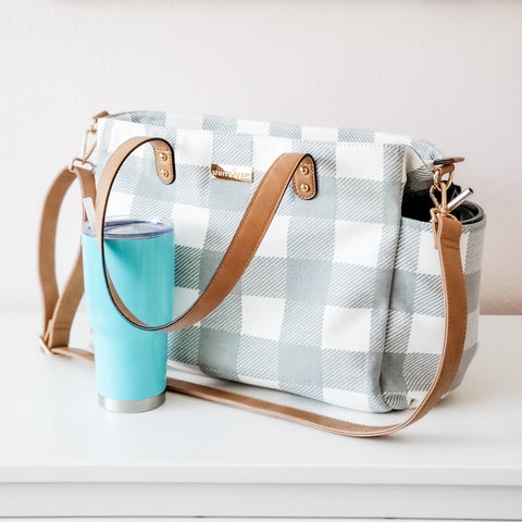 white elm gray buffalo check gingham plaid tote bag with rtic tumbler cup