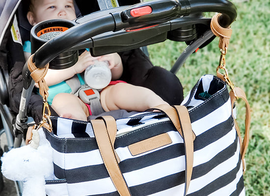 white elm stroller straps for diaper bag pram straps for nappy bag black stripe tote