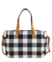 white elm black and white buffalo check plaid canvas tote laptop bag weekender bag
