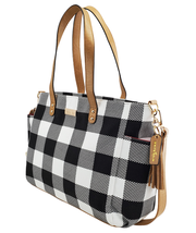 white elm buffalo check canvas tote bag aquila side view laptop bag