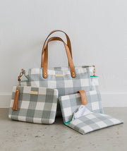 Gray canvas buffalo plaid gingham tote bag and clutch bag bundle by White Elm