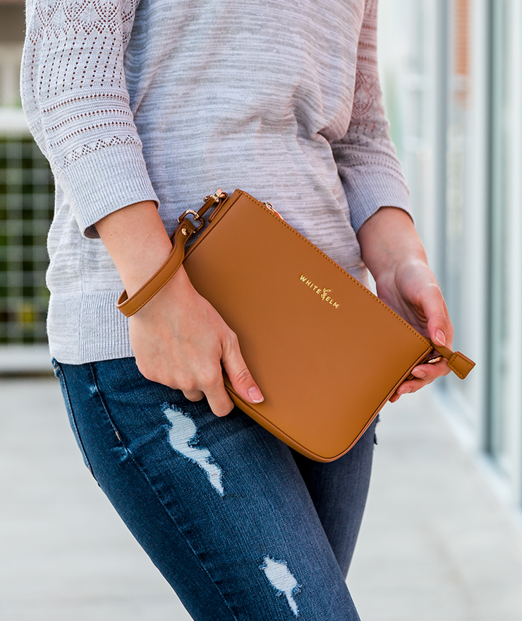 Ara Convertible Crossbody Clutch - Amber Brown