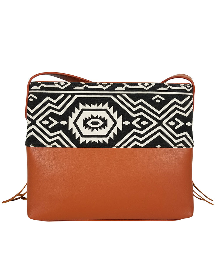 Back view of the Aztec Boho City Fringe Crossbody Bag