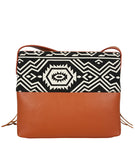 Boho City Fringe Crossbody - Aztec - White Elm Designer canvas and vegan leather and suede shoulder handbag for women back