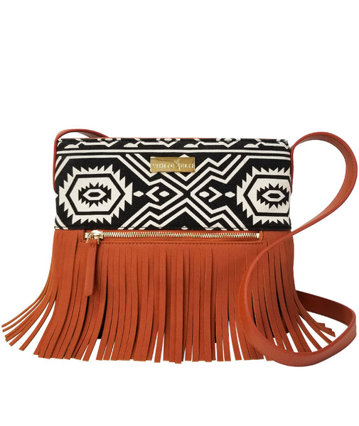 Boho City Fringe Crossbody - Aztec - White Elm Designer canvas and vegan leather and suede shoulder handbag for women front view