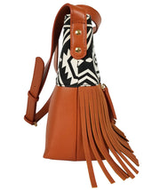 Boho City Fringe Crossbody - Aztec - White Elm Designer canvas and vegan leather and suede shoulder handbag for women side