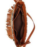 Boho City Fringe Crossbody - Aztec - White Elm Designer canvas and vegan leather and suede shoulder handbag for women inside