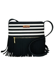 Front view of the Black Stripes Boho City Fringe Crossbody Bag
