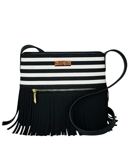 Boho City Fringe Crossbody Bag - Aztec