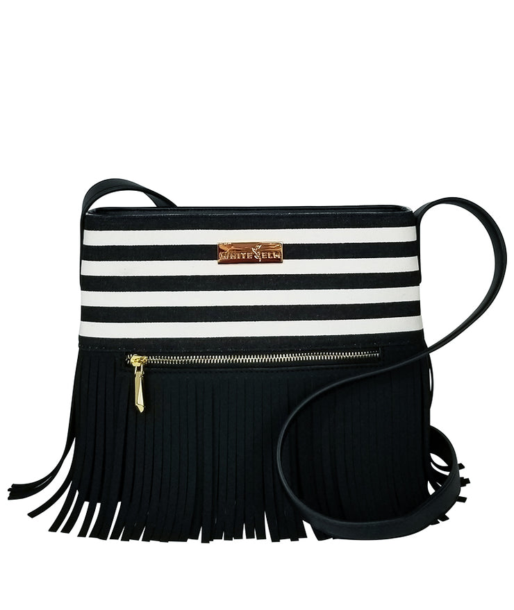 Boho City Fringe Crossbody Bag - Black Stripes (Pre-Order) - White Elm - Designer Handbag for Women Vegan Suede and Leather Canvas Striped Print with Zipper Closure Front View