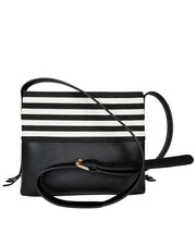 Boho City Fringe Crossbody Bag - Black Stripes (Pre-Order) - White Elm - Designer Handbag for Women Vegan Suede and Leather Canvas Striped Print with Zipper Closure Back