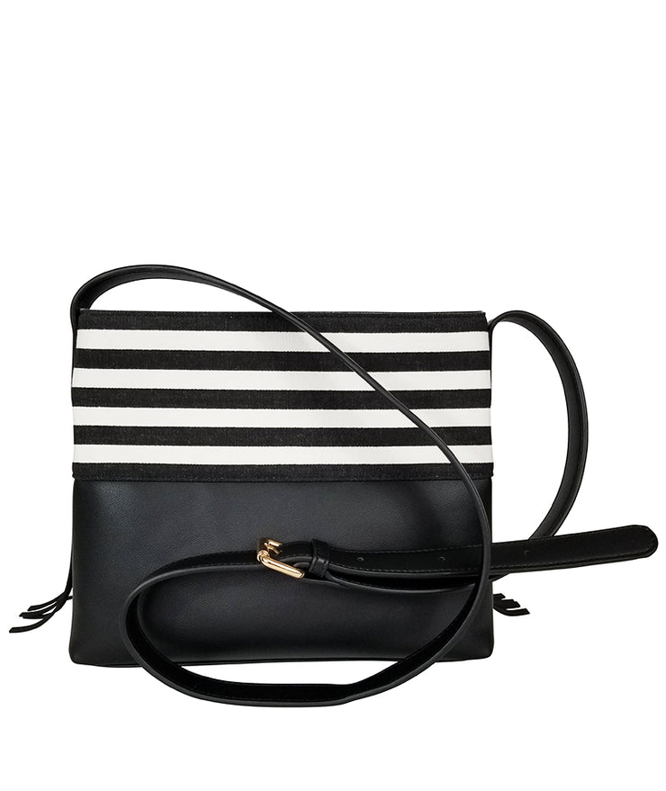 Back view of the Black Stripes Boho City Fringe Crossbody Bag