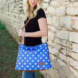 Crosses Hobo Crossbody - Blue - White Elm - canvas and vegan leather toddler diaper bag plus signs modern style 7 pockets large handbag
