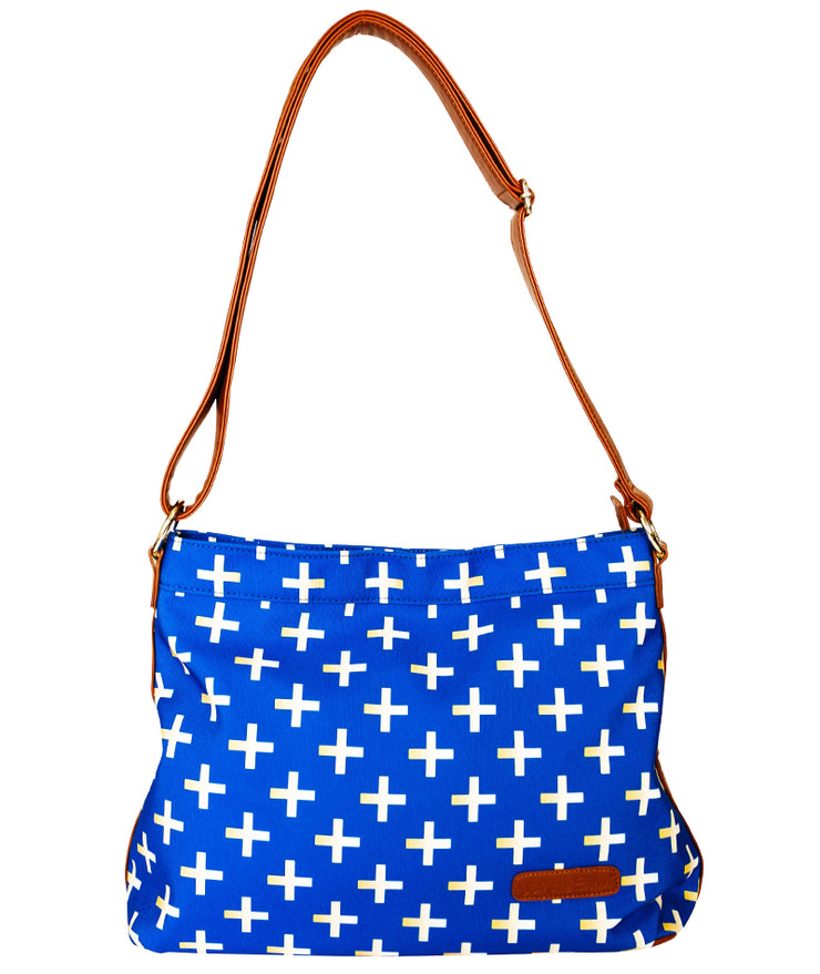 Front view of the Crosses Hobo Crossbody Bag in blue