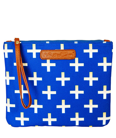 Front view of the Crosses Clutch Bag in blue