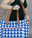 white elm blue navy triangles tote bag libra crossbody pockets messenger diaper bag