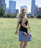 Blue Triangle Tote Bag - The Libra - White Elm navy blue diaper bag laptop tote bag vegan leather and canvas