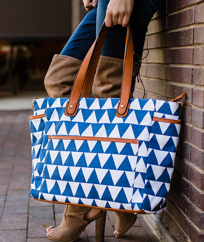 Blue Triangle Tote Bag - The Libra - CLEARANCE