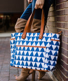 white elm blue navy triangles tote bag libra pockets messenger diaper bag