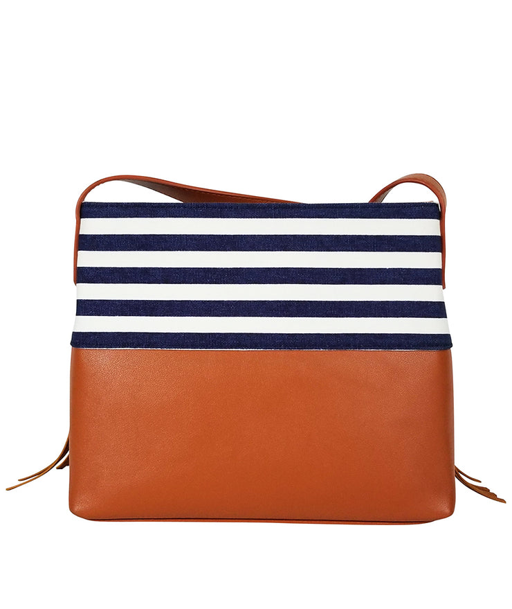 Back view of the Blue Stripes Boho City Fringe Crossbody Bag