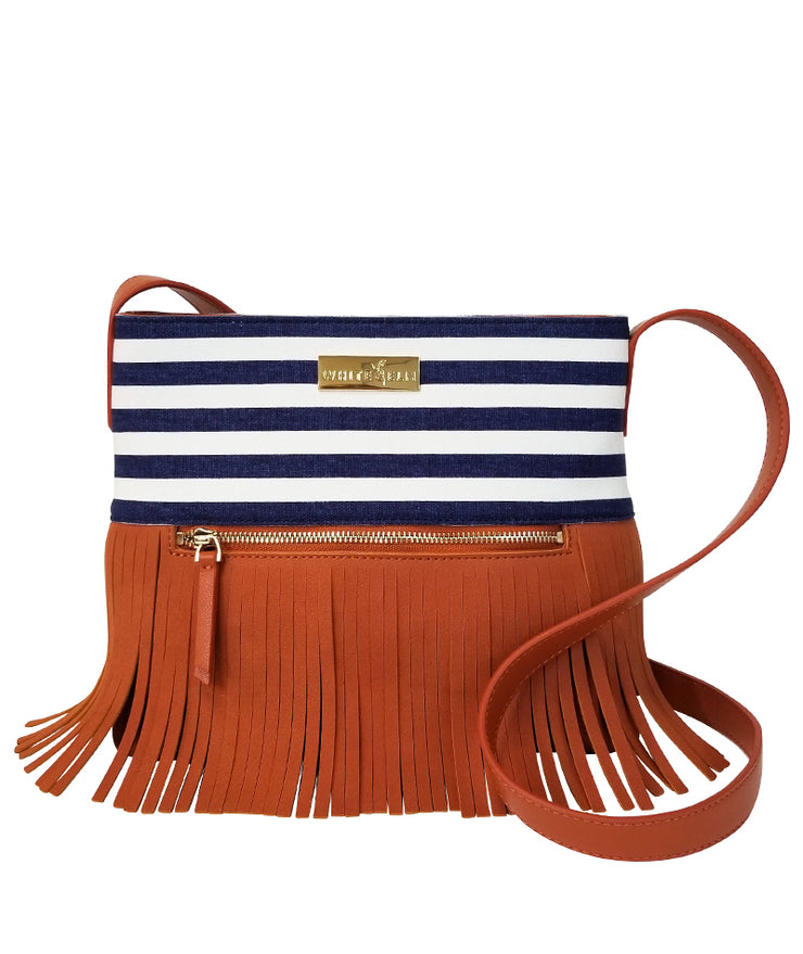 Boho City Fringe Crossbody Bag- Blue Stripes by White Elm - Designer canvas and vegan leather and suede shoulder handbag for women front view