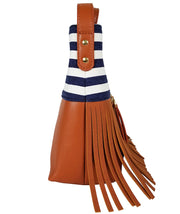 Boho City Fringe Crossbody Bag- Blue Stripes by White Elm - Designer canvas and vegan leather and suede shoulder handbag for women side view