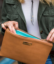 Lyra Tablet Clutch Bag - Brown Vegan Leather