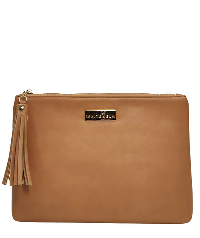 Front view of the Lyra Tablet Clutch Bag in brown vegan leather