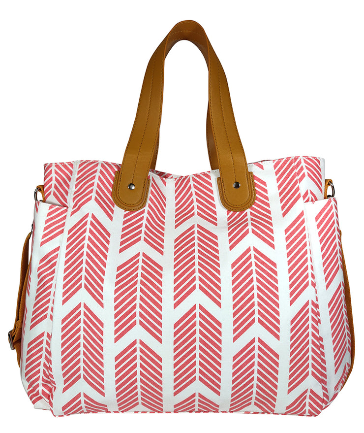 Front view of the Coral Arrows Weekender Tote Bag