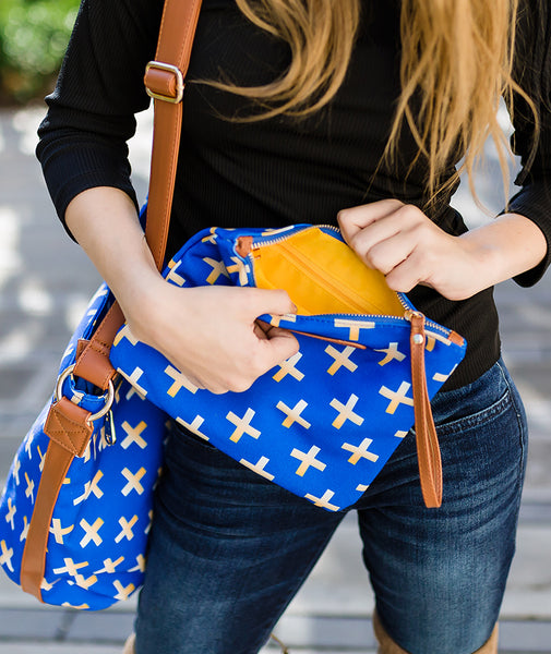 blue gold crosses hobo crossbody tote bag white elm waterproof clutch vegan leather and canvas looking in clutch