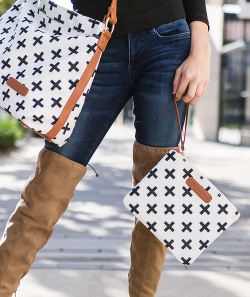 white black crosses hobo crossbody tote bag white elm waterproof clutch vegan leather and canvas