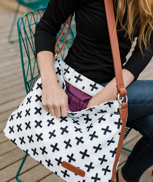 white black crosses hobo crossbody tote bag white elm waterproof clutch vegan leather and canvas cranberry lining modern style plus sign cross design