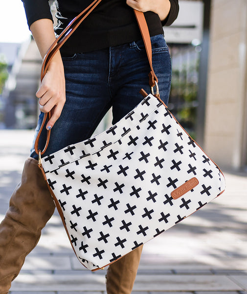 white black crosses hobo crossbody tote bag white elm waterproof clutch vegan leather and canvas modeled modern style plus sign cross design