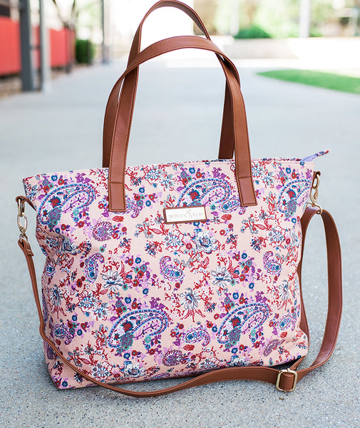 Dahlia Floral Tote Bag | Limited Edition - White Elm - Canvas and vegan leather travel bag girl diaper bag teacher tote lightweight laptop bag with detachable crossbody strap