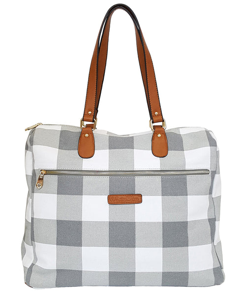 Evelyn Gingham Satchel Bag - White Elm plaid gray grey buffalo check laptop tote bag vegan leather and canvas weekend travel bag