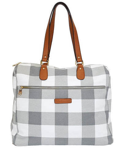 Evelyn Gingham Satchel Bag