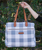 Evelyn Gingham Satchel Bag - White Elm plaid buffalo check laptop tote bag vegan leather and canvas weekend travel bag