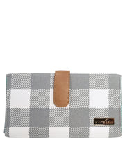 Front view of the Juno Diaper Clutch Bag in Gray Buffalo Check