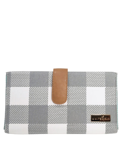 white elm juno diaper clutch gray buffalo plaid