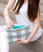 Lyra Tablet Clutch Bag - Gray Buffalo Check