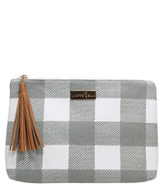 Front view of the Lyra Table Clutch Bag in Gray Buffalo Check