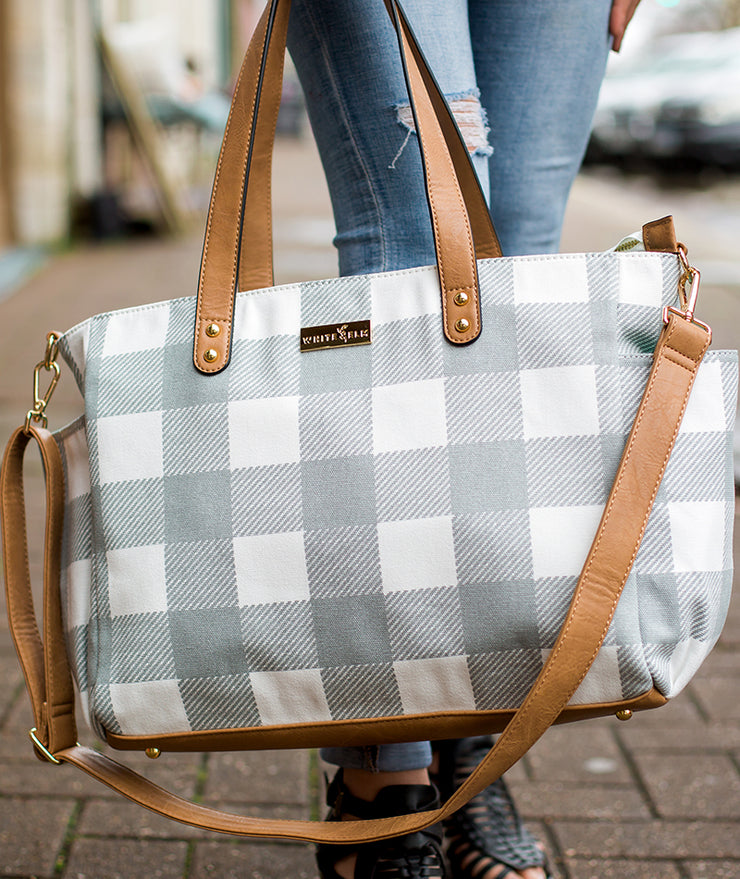 gray buffalo plaid canvas tote bag with adjustable crossbody strap