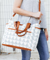 Libra Gray Triangle Tote Bag by White Elm, great for travel or as a diaper bag, wear it crossbody or over the shoulder, keeps you stylish and on budget