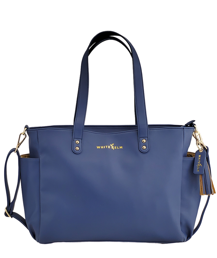 Aquila Tote Bag - Navy Blue Vegan Leather